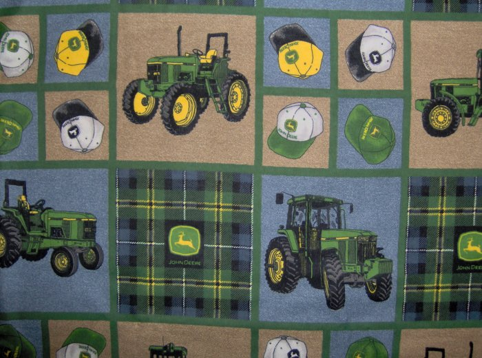 LAST ONE! JOHN DEERE TRACTORS Hat and Logo Patchwork Squares FABRIC FAT EIGHTH F8 F8TH