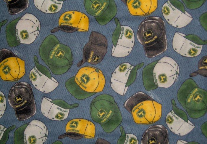 LAST ONE! JOHN DEERE TRACTORS Hat Toss on Blue Denim FABRIC FAT QUARTER FQ
