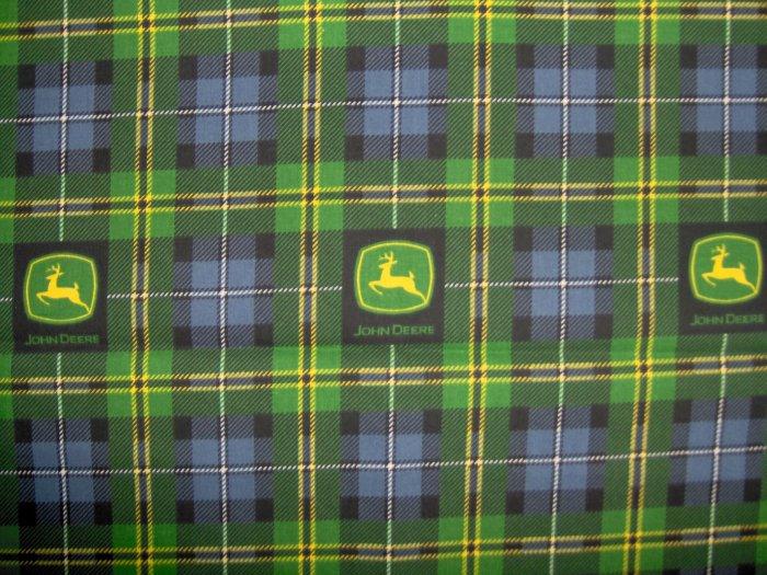 LAST PIECE!  JOHN DEERE TRACTORS Shirt Plaid Logo FABRIC