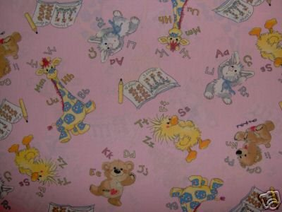 Little Suzy's Zoo ABC 123 Character Toss on Pink KIDS COTTON FABRIC FAT QUARTER FQ