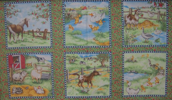 BOLT END Down on the Farm Animal Scene Blocks by South Sea Imports SSI LAST PIECE!
