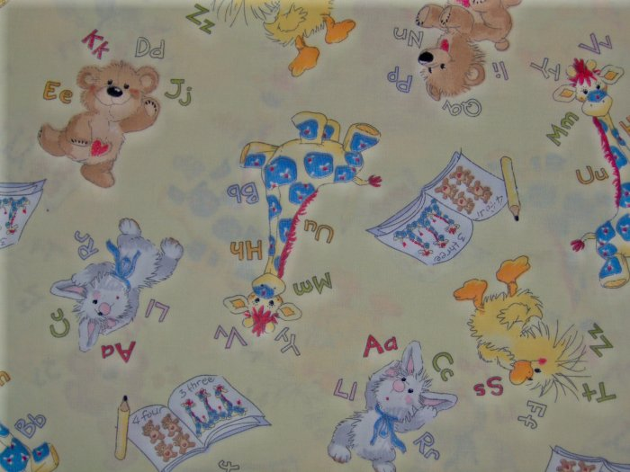 LAST 1! Little Suzy's Zoo Yellow ABC 123 Character Toss Cotton Flannel Fabric Fat Eighth F8 F8th