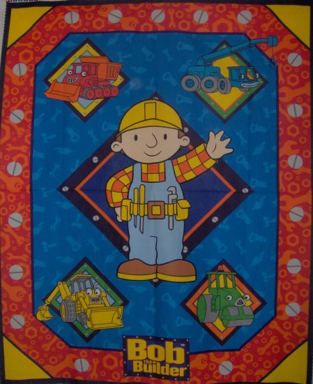 Bob the Builder Quilt Top Kids Cotton Fabric Panel PLUS Character Toss on Blue Fabric