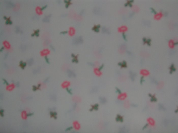 Beatrix Potter Peter Rabbit Pink Flower Toss Vintage Cotton Quilt Fabric
