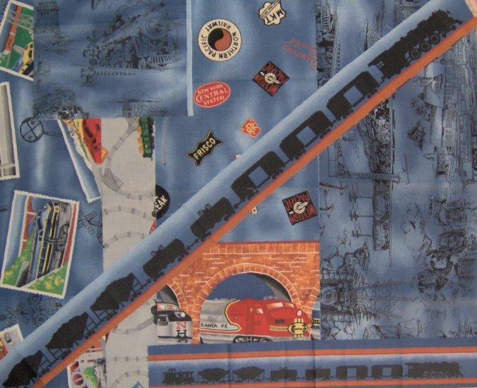 Lionel Trains Cotton Railroad Train Fabric Remnant Sampler Pack