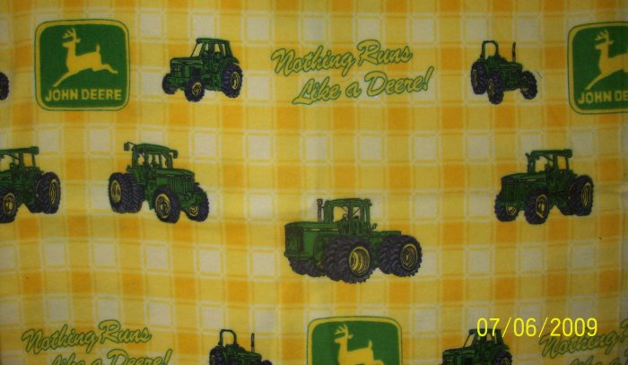 JOHN DEERE TRACTOR Modern Tractors Allover Yellow Plaid FLANNEL FABRIC FAT QUARTER FQ