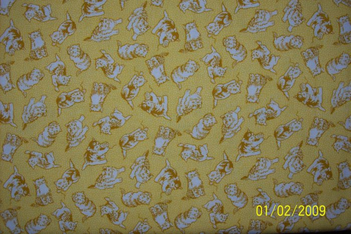 RJR Everything But the Kitchen Sink Cat Toss on Yellow 1930s Repro Quilt Fabric