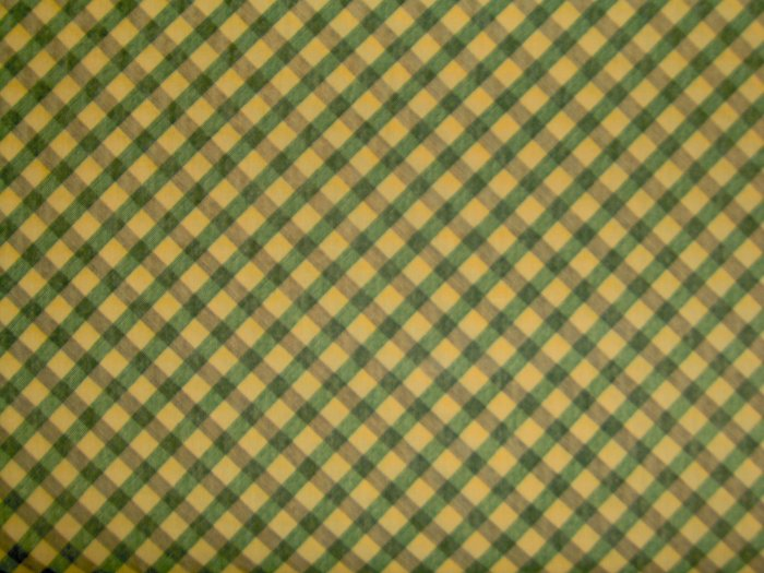 FQ SSI DEBBIE MUMM MUMMS THE WORD Yellow Green Black Bias Plaid FABRIC FAT QUARTER