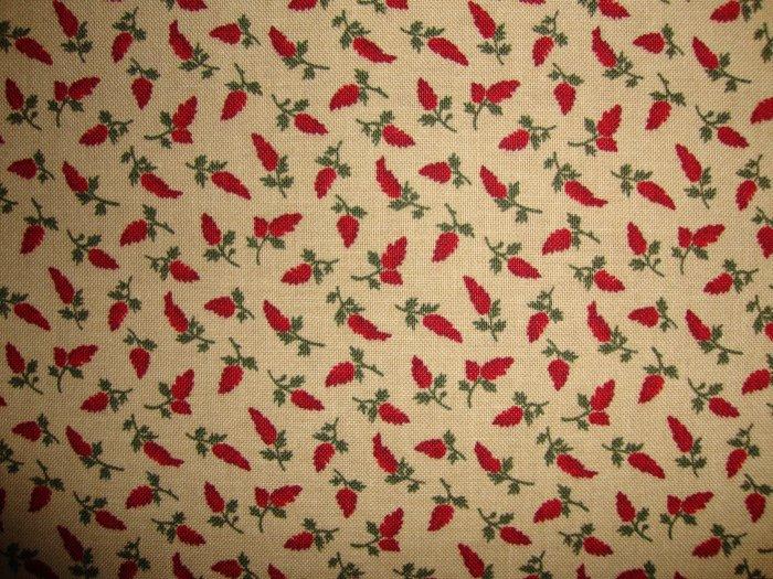 Thimbleberries Quilt Club Red Flowers on Tan RJR Lynette Jensen Fabric Fat Quarter FQ