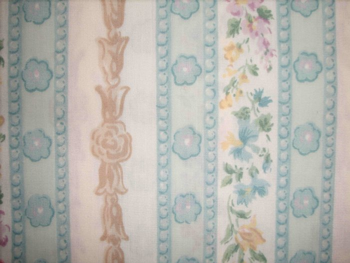 BTY SALE! Blue & Tan Floral Stripe Poly Cotton Home Decor or Curtain Fabric