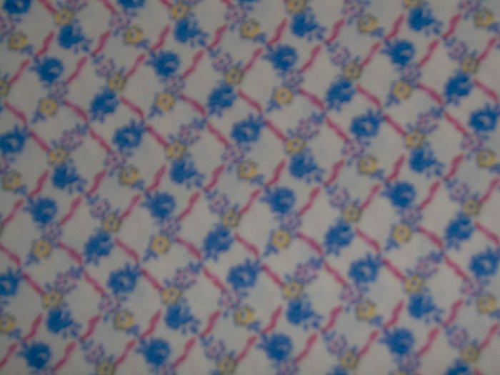 RJR Hooked on Hankies Blue Pink Yellow Flowers Lattice Fabric Fat Quarter FQ