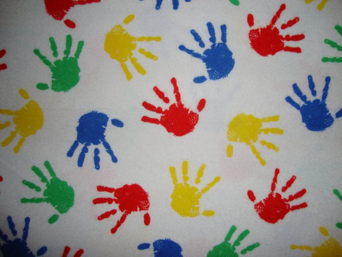 Primary Color Hand Prints on White Cotton Flannel Fabric Fat Quarter FQ