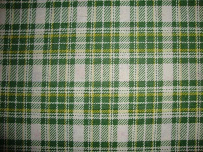 Daisy Kingdom Green Yellow Plaid Cotton Flannel Fabric Fat Quarter FQ