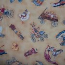 Timeless Treasures Country Hearts Toy Shoppe Toss on Tan Fat Quarter FQ Cotton Quilt Fabric