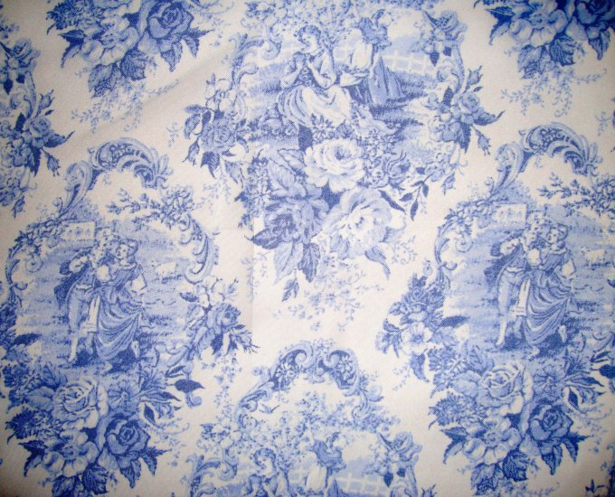 ... Daisy Kingdom Blue English Rose Toile Sheer Curtain Fabric By the Yard