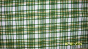 FQ JOHN DEERE TRACTORS Green Yellow White Plaid FABRIC FAT QUARTER