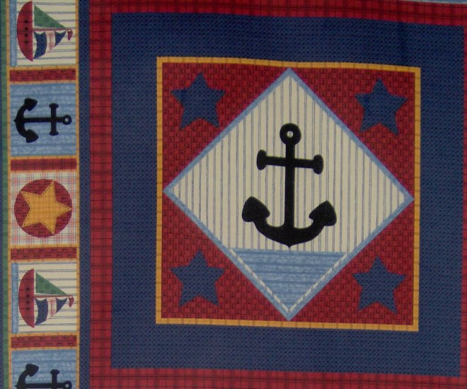 Nautical Baby Anchor Quilt Block Cotton Kids Fabric Fat Quarter FQ Panel