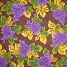 Purple Grape Clusters Vine Leaves on Brown Cotton Quilt Fabric Fat Quarter FQ