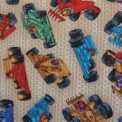 BTY Indy Race Cars on Tan Cotton Fabric by Shamash & Sons By the Yard