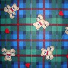 Teddy Bears & Hearts on Blue Green Plaid POLYESTER Flannel Fabric Fat Quarter FQ