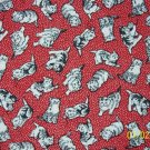 BTY RJR Everything But the Kitchen Sink Cat Toss on Red 1930s Repro Fabric By the Yard