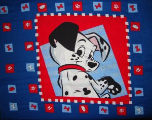 FQ Disney 101 Dalmatians Puppy Side View Pillow Panel Cotton Fabric Fat Quarter