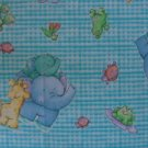 Daisy Kingdom Little Pond Animal Toss on Turquoise Gingham Fabric Fat Quarter FQ