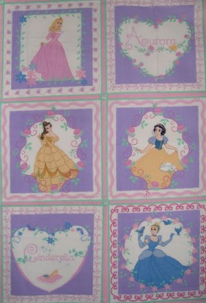 Disney Princess Aurora Belle Cinderella & Snow White Quilt Blocks Pink Fabric Panel