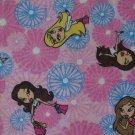 MGA Bratz Dolls Flower Girl Toss Cotton Flannel Kids Fabric Fat Quarter FQ