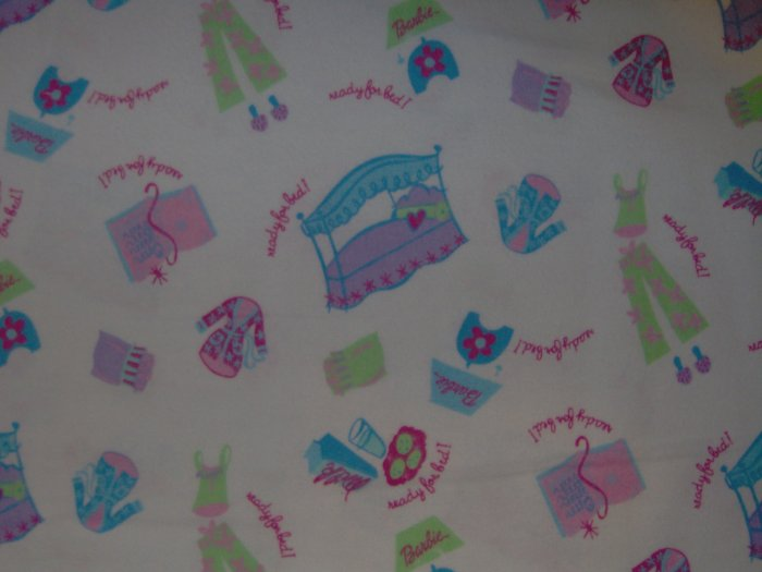 Barbie Ready For Bed Kids Cotton Flannel Mattel Fabric Fat