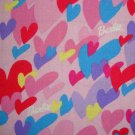 Barbie Hearts Allover Pink Blue Purple Yellow Kids Cotton Mattel Fabric Fat Quarter FQ