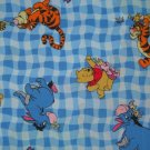 FQ Disney Winnie the Pooh Character Toss on Blue Gingham Fabric Fat Quarter