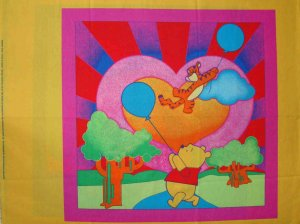 FQ Disney Winnie the Rainbow Pooh Tigger Flying Balloon Quilt Block Pillow Panel Fabric Fat Quarter