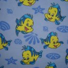 FQ Yellow Blue Fish Cotton Snuggle Flannel Fabric Fat Quarter