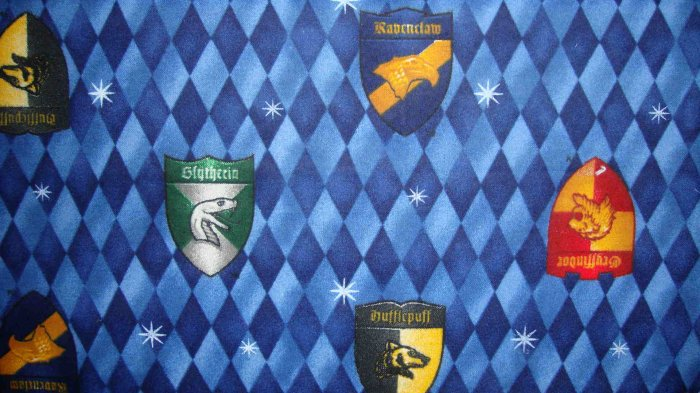 Harry Potter Shields on Blue Diamonds Cotton Flannel Fabric Fat Eighth F8th F8