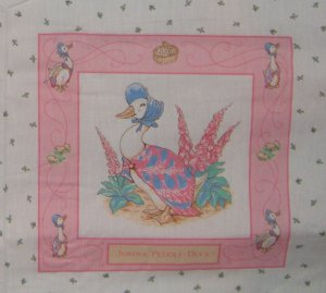 Vintage Beatrix Potter Jamima Puddle-duck Quilt Block Panel Cotton Fabric Square
