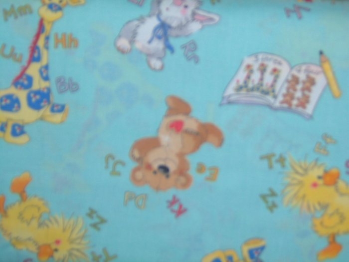 1 7/8+ Yard Little Suzy's Zoo Green ABC 123 Character Toss Cotton Fabric LAST PIECE