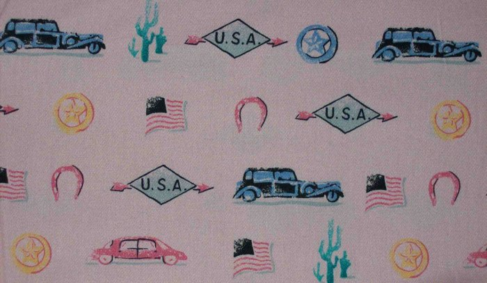 """BTY 60"""" Golden D'or Route 66 USA Vintage Retro Auto Pink Fabric"""