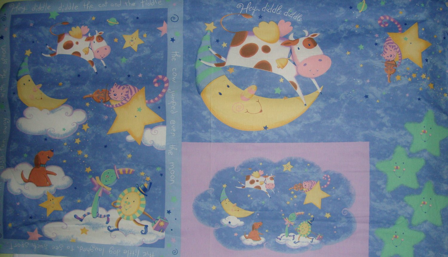"""Hey Diddle Diddle Cat and Fiddle Wall Hanging 60"""" Fabric Panel"""