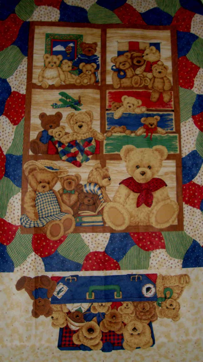 """Suitcase Teddy Bear Family Baby Kids Quilt Top 60"""" Fabric Panel"""