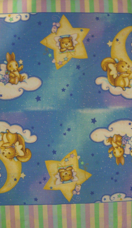 Nighttime Nursery Rhymes Crib Bumper or Border Fabric