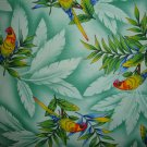 F8 Parrots Birds on Tropical Green Cotton Fabric Fat Eighth F8th