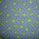 F8 Calico Frog on Blue Dots Cotton Fabric Fat Eighth F8th by Signature Classics