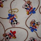 FQ Rodeo Cowboy Bunny Rabbit on White Cotton Fabric Fat Quarter