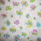 FQ SSI Kidstuff Zippity Zoo Da Baby Butterfly & Bee Toss on White Fabric Fat Quarter