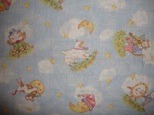 F8 Nursery Rhymes Scenic on Blue Stary Night Sky Cotton Fabric Fat Eighth F8th