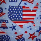 BTY Americana Stars & Stripes Map Flag Bell on Blue Fabric by Oakhurst Textiles By the Yard