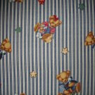 Daisy Kingdom Blue Jean Teddy Blossom Bear Ticking Toss Cotton Flannel Fabric Fat Eighth F8 F8th
