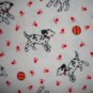 FQ Dalmatian Dogs on White Cotton Flannel Fabric Fat Quarter