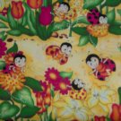 1/8 Yard Love Bug Lady Bug Scenic on Yellow Cotton Fabric Bolt End
